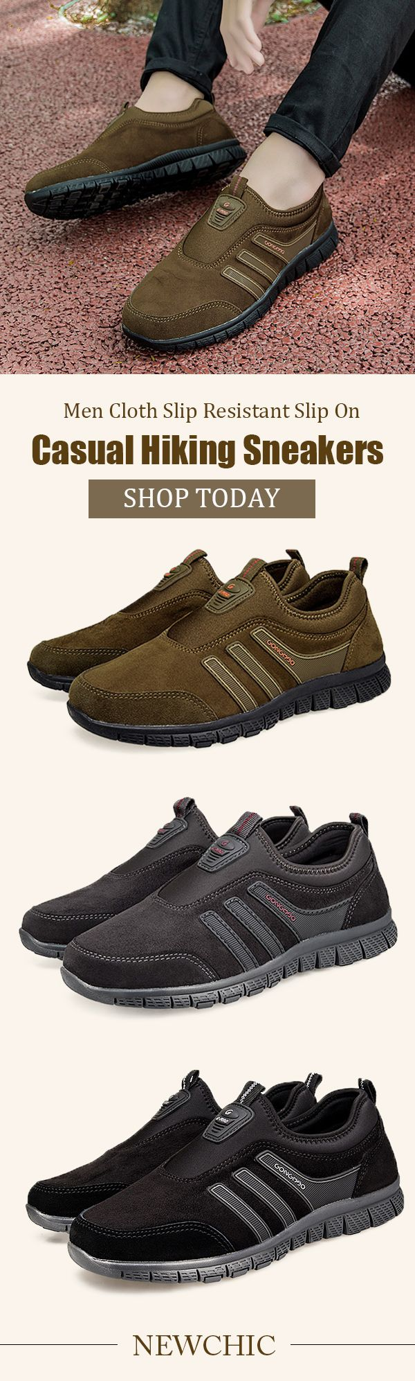 Men Cloth Slip Resistant Slip On Casual Hiking Sneakers