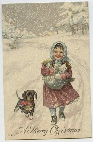 Vintage postcards New Year and Christmas