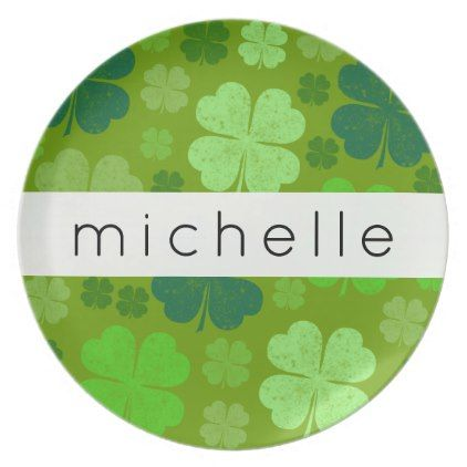 Your Name - Saint Patrick's Day Clovers - Green Plate - holidays diy custom design cyo holiday family