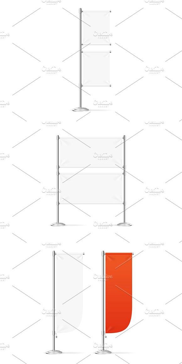 Blank Banner Flag Red and White Set. #blank #banner