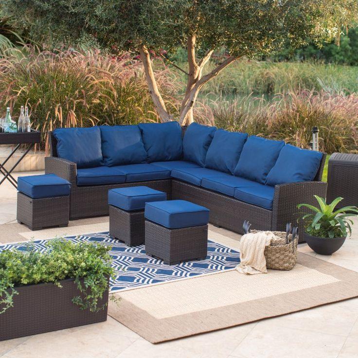 Belham Living Monticello All-Weather Outdoor Wicker Sofa Sectional Set Blue - 12C053A-W-3D-SET P3016-174 CUSHION/DK B, Durable
