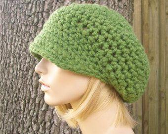 Sombrero de mujer verde verde vendedor de periódicos sombrero - Crochet sombrero de vendedor de periódicos hierba verde sombrero del ganchillo - sombrero verde mujeres accesorios otoño Moda invierno sombrero