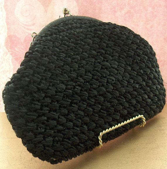 Black Raffia Bag Vintage 1950s Crochet Bag Straw by TheBeadSource