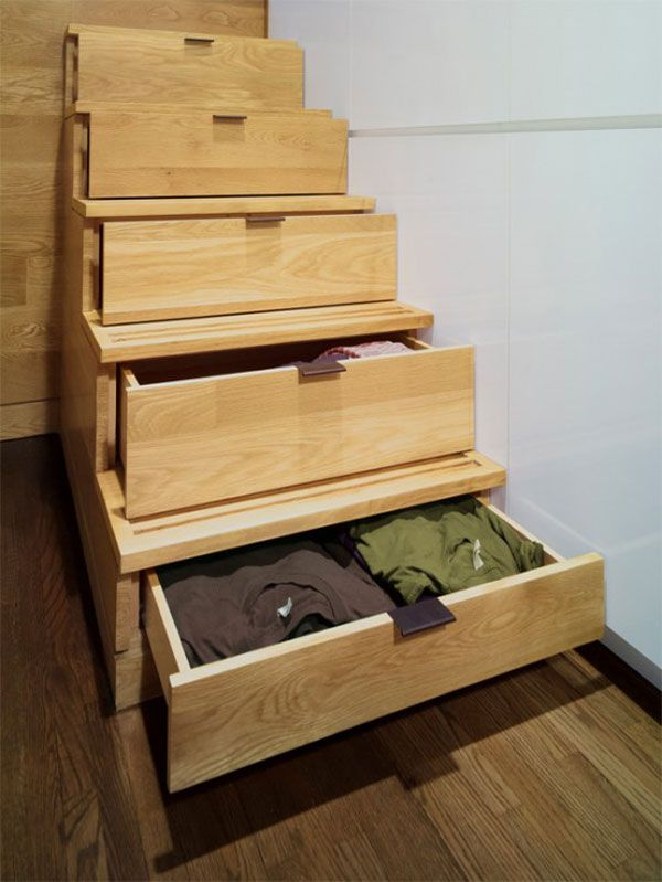 Stairs serve as drawers for storage, or a stepped set of drawers serves as a stair