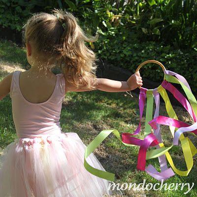 "Ribbon hoops...fun to make & safer than ribbon ""sticks"" for running children."