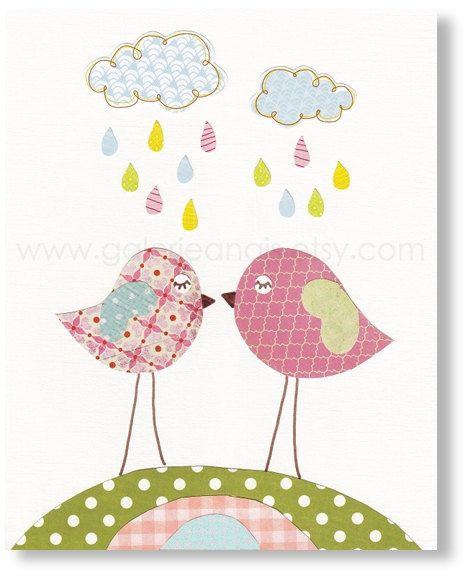 pajaritos bajo la lluvia