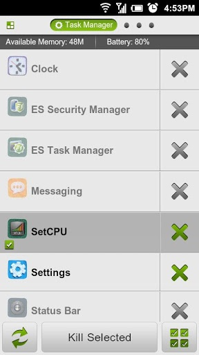 ES Task Manager app is one of the most downloaded Android Task Killer from Google Play Store  http://www.theandroidgallery.com/how-to-use-es-task-manager-app/