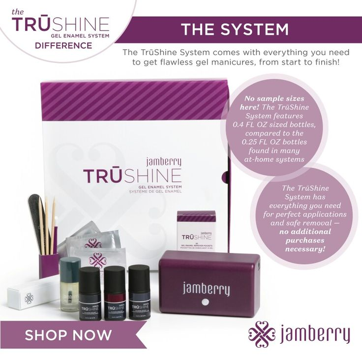 Jamberry TruShine Gel Enamel System!! Get professional, salon-quality gel polish nails at home with TruShine Gel Enamel!  WATCH THE APPLICATION VIDEO: https://youtu.be/61kUb1F7TyE  HOW TO REMOVE TRUSHINE GEL  Removing TruShine Gel has never been more convenient with our TruShine Gel Removal Pockets.  WATCH THE REMOVAL VIDEO: https://youtu.be/YqSMjTq0_7I