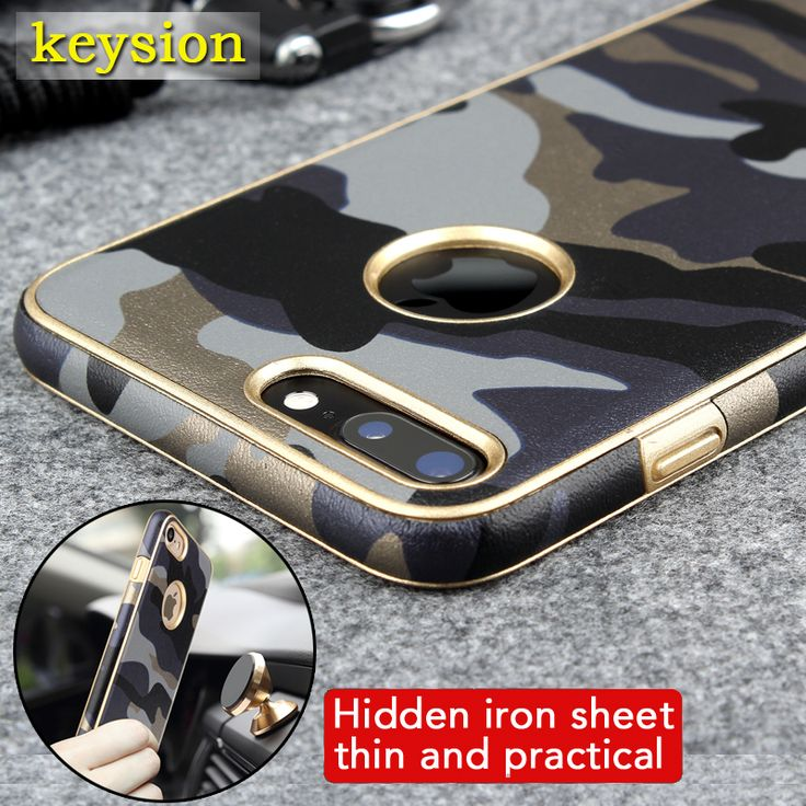 Case for iPhone 7 iPhone 7 Plus 2in1 Armor Hybrid PU+TPU Army Camo Camouflage Anti-knock Phone Cover work with magnetic holder