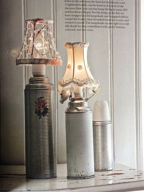 Vintage old thermos repurposed into lamps; upcycle, recycle, repurpose, salvage, diy! For ideas and goods shop at Estate ReSale & ReDesign, Bonita Springs, FL