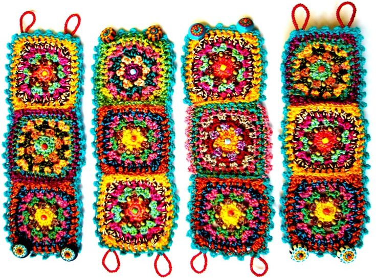schön buntes Armband  --- ~ original by me...crochet bracelet with Fimo button ~ | Flickr - Photo Sharing!