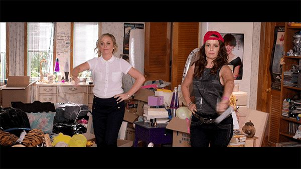 When they're asked to clean out their old bedroom and no actual cleaning gets done. | Times Amy Poehler And Tina Fey Were Basically You And Your Sister
