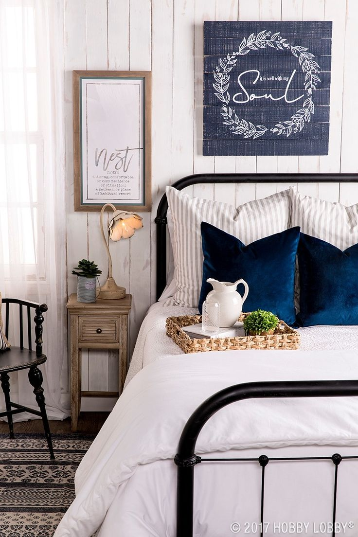 Create a cozy cottage retreat with crisp whites and pops of blue!