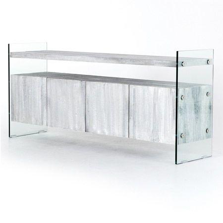Soho Modern Grey Wood and Glass Sideboard