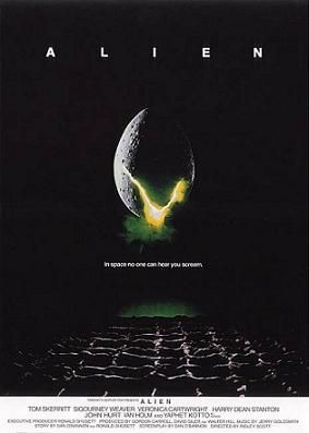"""A large egg-shaped object that is cracked and emits a yellow-ish light hovers in mid-air against a black background and above a waffle-like floor. The title """"ALIEN"""" appears in block letters above the egg, and just below it in smaller type appears the tagline """"in space no one can hear you scream""""."""