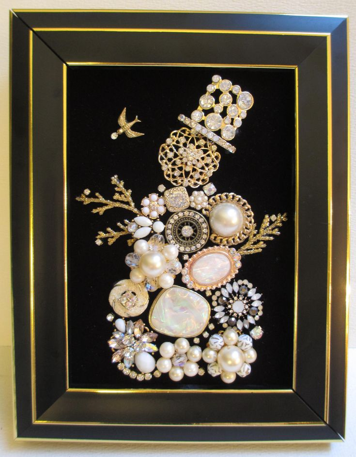 Jeweled Framed Jewelry Snowman Vintage Black Gold by audreymivey on Etsy