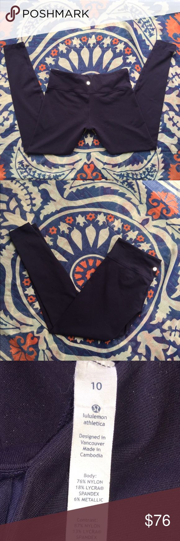 💙Lululemon Dark Navy/Indigo Blue Leggins Only worn a few times... In great shape .. No pulls or tears....tag attached .. Dark navy blue but also has a indigo shimmer to these pants.. Lululemon flattering for the bod!! Pants can be worn out with boots and a cute sweater and then off to the gym 💪🏽 no trades no pay pal lululemon athletica Pants Leggings
