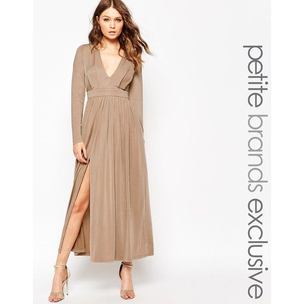 Lipstick Boutique Petite 70'S Plunge Neck Maxi Dress With Double Splits featuring polyvore, women's fashion, clothing, dresses, nude, empire maxi dress, nude dress, white fitted dress, petite maxi dress and plunging neckline maxi dress