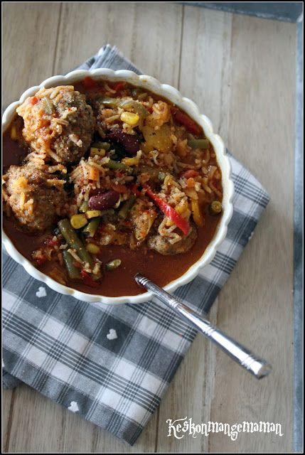 Keskonmangemaman?: Soupe façon mexicaine aux boulettes de viande aux ...