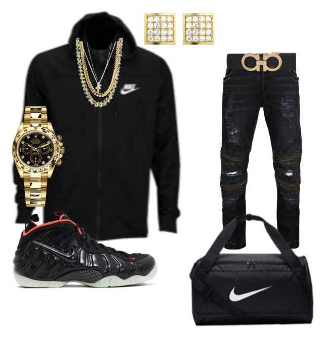 """Yeezy Foam"" by jahlenbrown on Polyvore featuring Rolex, Salvatore Ferragamo, men's fashion and menswear"