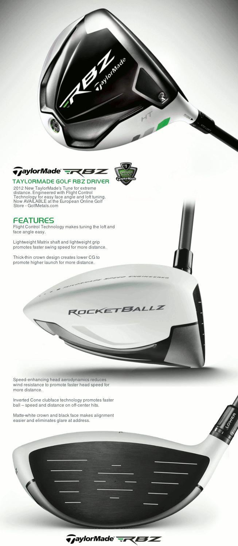TAYLORMADE® RBZ™ - RocketBallz™ MEN's DRIVER · 460cc matte-white finish head · Flight Control Technology · Flex: M/R/S/X · Hand: RH / LH · Shaft: Matrix ® XCON 5 Graphite Shaft.   GolfMetals.com