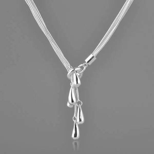Five string lariat necklace with teardrop pendants. Different.