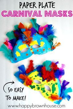 These Paper Plate Carnival Masks are perfect for teaching kids about Rio Carnival, Brazil, and the Rainforest. During a study of the rainforest, read about Rio Carnival in Brazil and make your own colorful masks. Then, have your own family fun night of making colorful, feather-filled Carnival masks and watching the Carnival themed movie for kids, Rio.