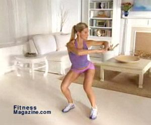 Squat Thrust with Twist :This targets your thighs, butt, obliques, shoulders, and chest.