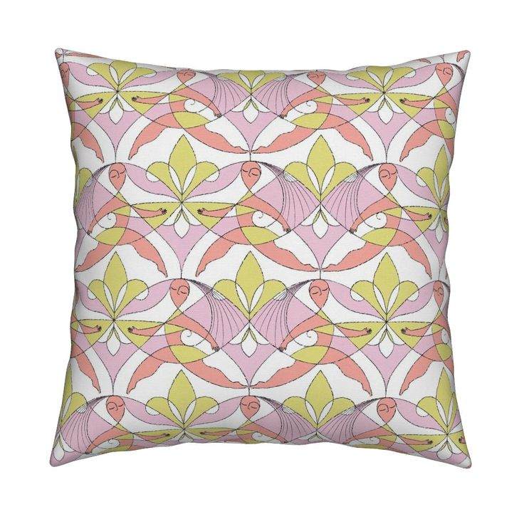 Interwoven XX_Cherry Blossom on Catalan by mia_valdez | Roostery Home Decor  #InterwovenXX #Woman #Girls #Cubism #summertime #Ladies #homedecor #beach #girly #Sisterhood #Lis #Flower #Pink #Cherry #Mia #roosteryhome #Catalan #Square #Throw #Pillow @Roosteryhome