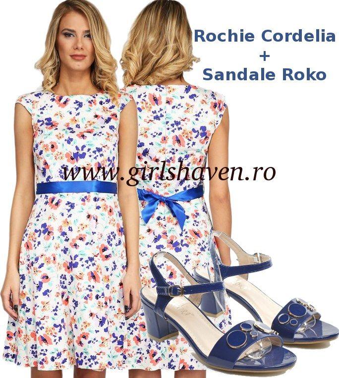 Rochie de vara Cordelia asortata cu sandale Roko albastre