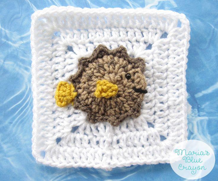 Puffer Fish Granny Square Crochet Pattern - Ocean Afghan Series
