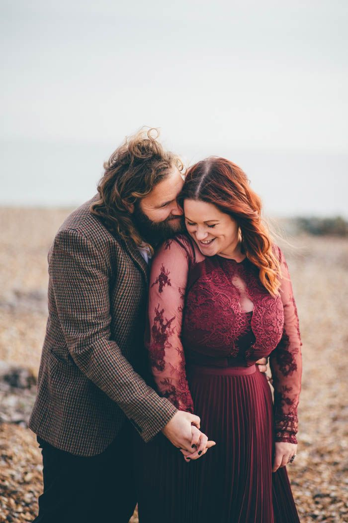 Precious boho engagement session at this Southsea beach | Image by Hayley Savage Photography