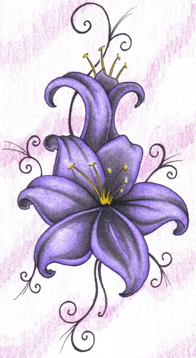 Wonderful Purple Lily Tattoo Design On Paper  Truetattoos