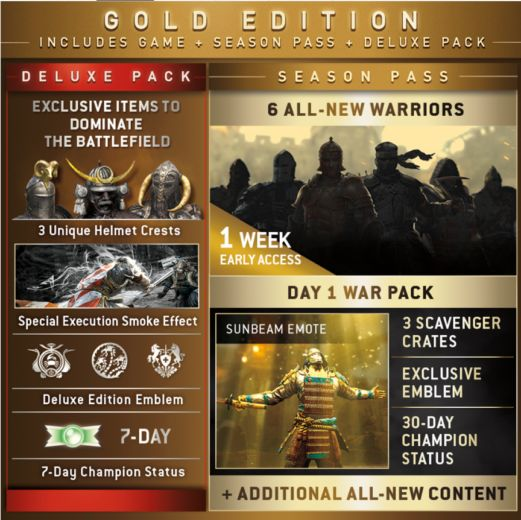 For Honor Gold Edition Season Pass Deluxe Pack
