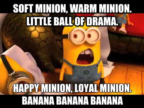 Sing Soft Minion... Soft kitty warm kitty little ball of fur happy kitty sleepy kitty............          Banana   Banana      Banana