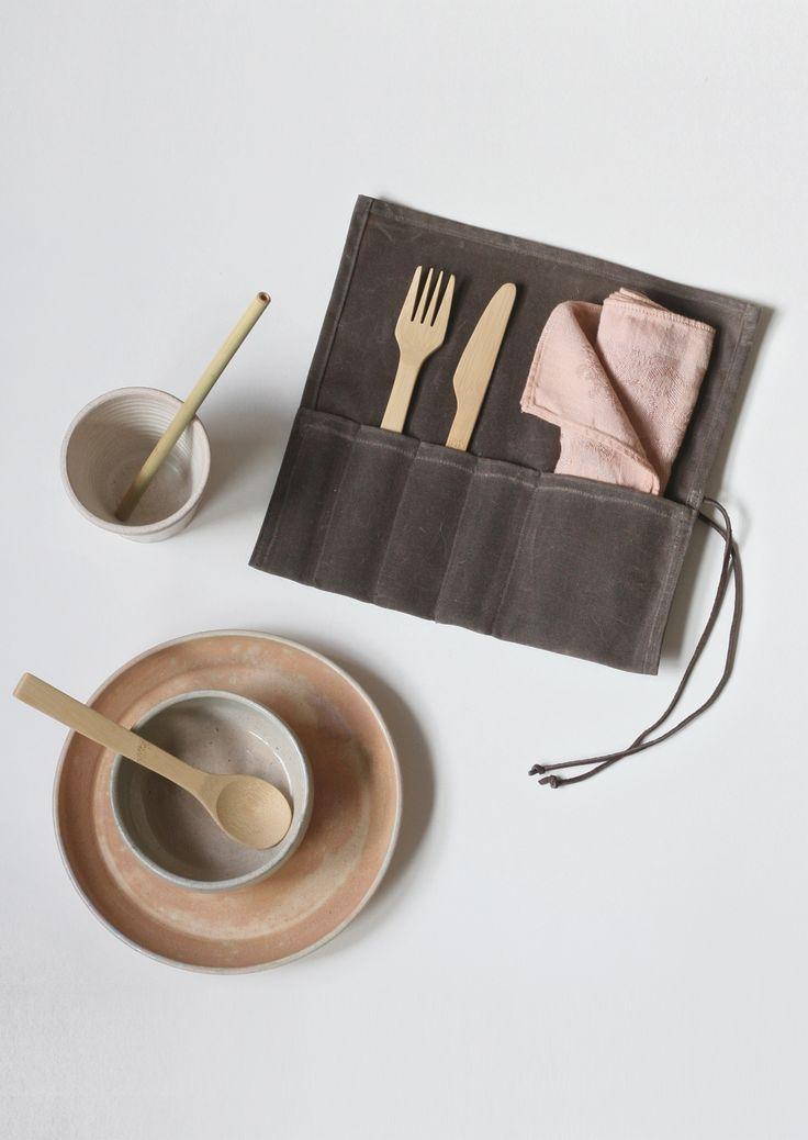 Waxed Canvas and Bamboo Lunch Set $60