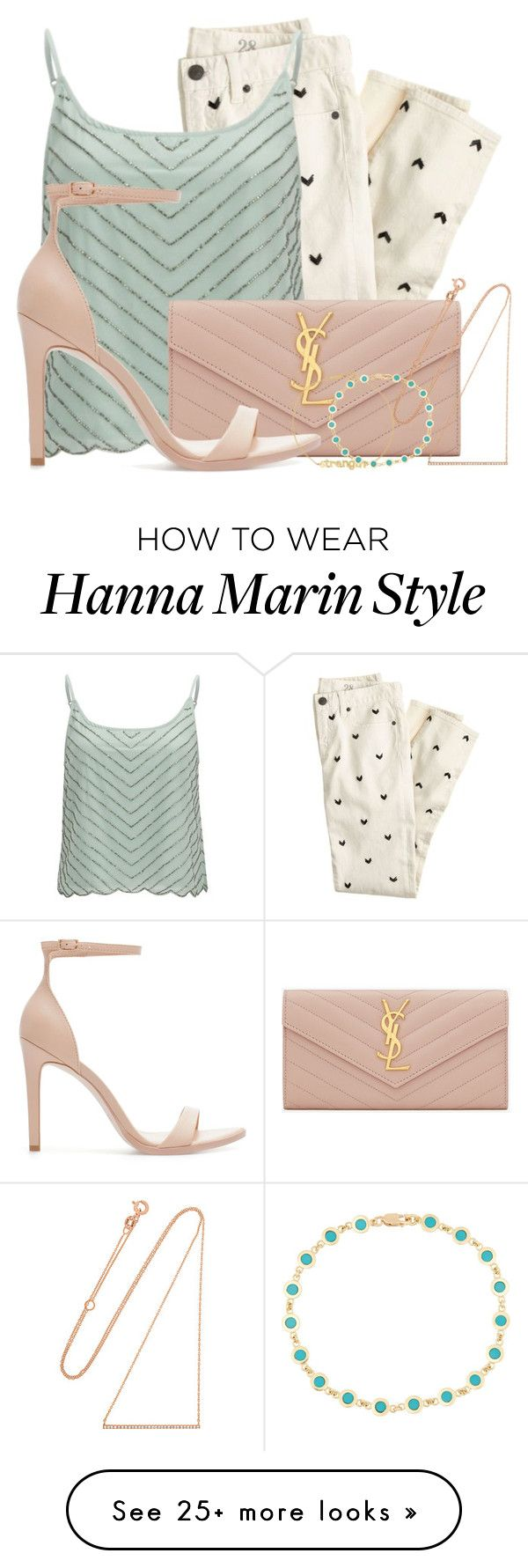 """Hanna Marin inspired look"" by candysweetieglam on Polyvore featuring J.Crew, VILA, Yves Saint Laurent, Diane Kordas, Zara, Jennifer Meyer Jewelry, women's clothing, women, female and woman"