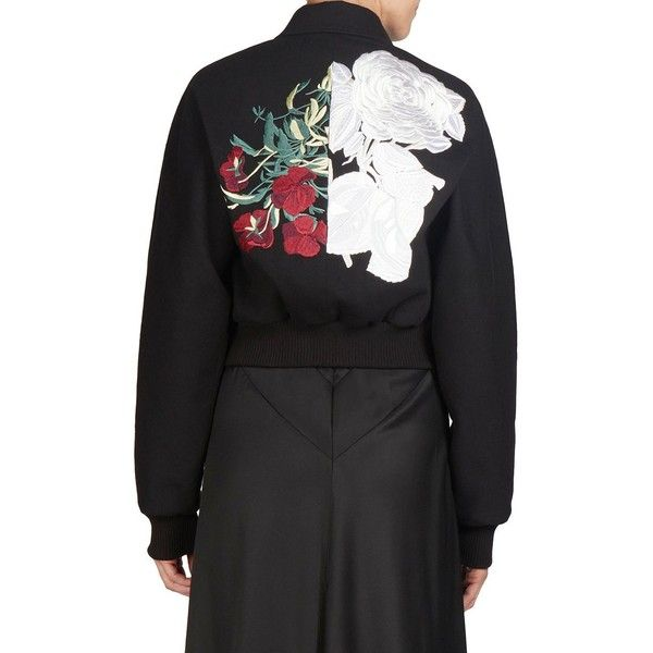 Cédric Charlier Zip Front Bomber Jacket (€885) ❤ liked on Polyvore featuring outerwear, jackets, long sleeve jacket, flower print bomber jacket, embroidered bomber jackets, zip front bomber jacket and blouson jacket
