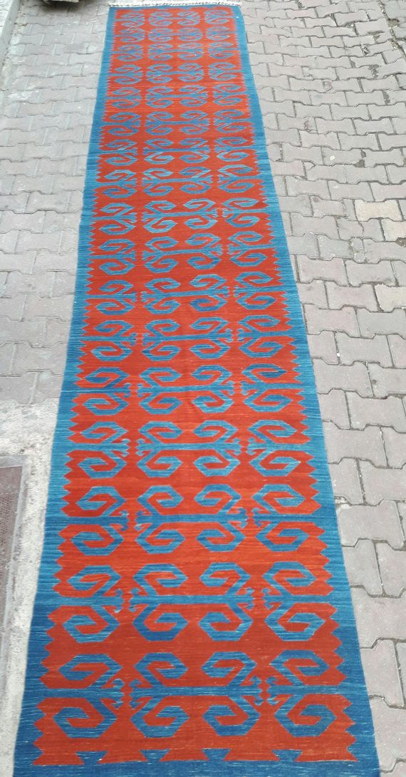 ZEER LANGE GANG loper, Vintage Turks tapijt, rood en blauw kilim tapijt loper, natuurlijke geverfd tapijt, 100% natuurlijke kleur natuurlijke 14