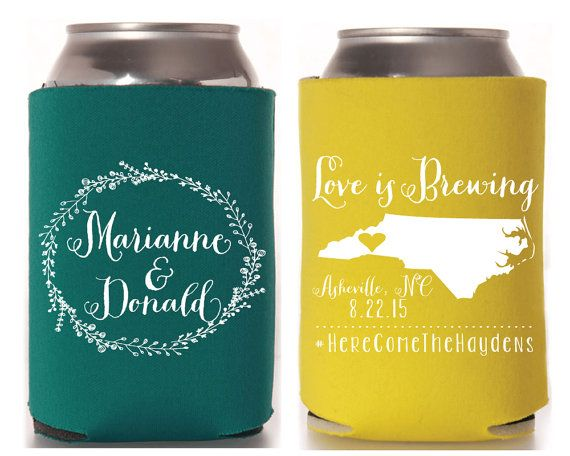 Love is Brewing Wedding Koozies Southern Wedding by SipHipHooray