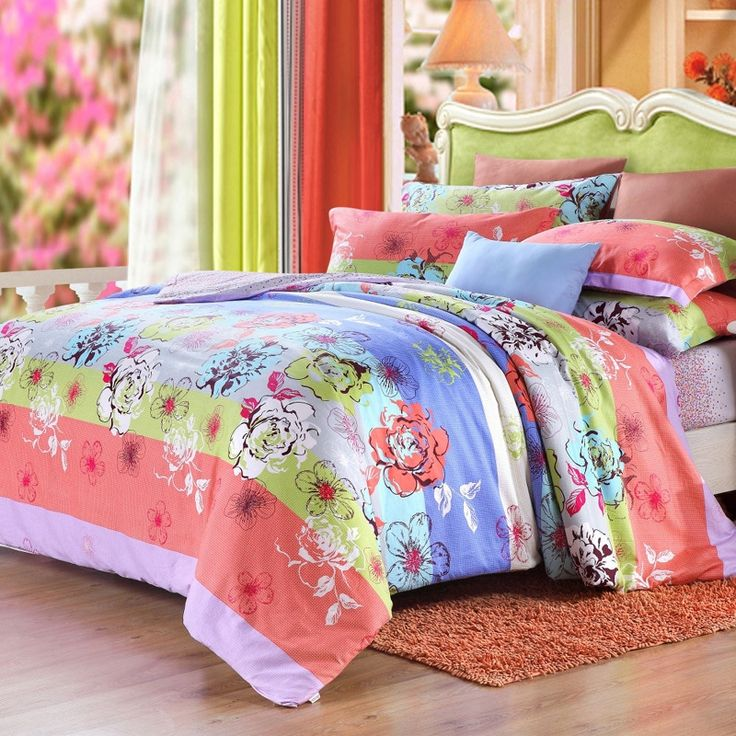 coral lime and sky blue bright colorful flower with rugby stripe cotton damask girls full queen size bedding sets