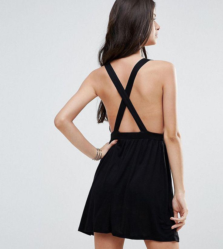 ASOS PETITE Cross Back Jersey Mini Beach Dress - Black
