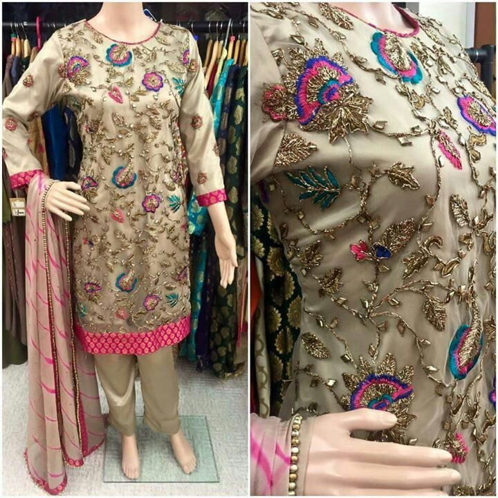 fawn / skin kameez / shirt and trouser with colorful embroidery | perfect for guests n bridesmaid | Pakistani weddings