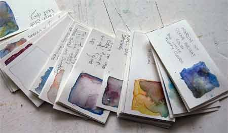 """Everyday in March I painted a swatch of the weather.""  Great inspiration for diy postcards."