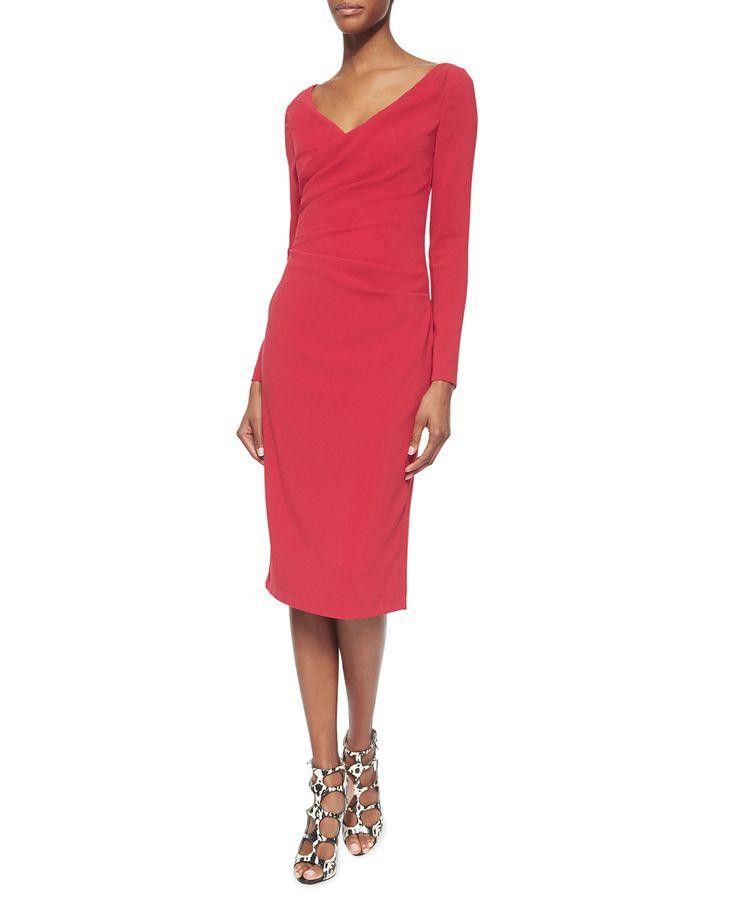 Torero Ruched Crepe Sheath Dress, Women's, Size: 8 - Talbot Runhof
