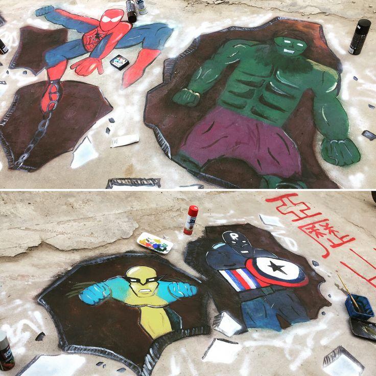 Граффити . Рисунок . Фото . Фотография . Краска . Улица . Искусство . Уличное искусство . Марвел . Супергерои . Халк . Человек паук . Рассомаха . Капитан Америка . Капитан Россия .
