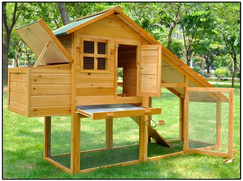 Waterproof wood poultry cage nest box rabbit hutch run for Plans for hen house