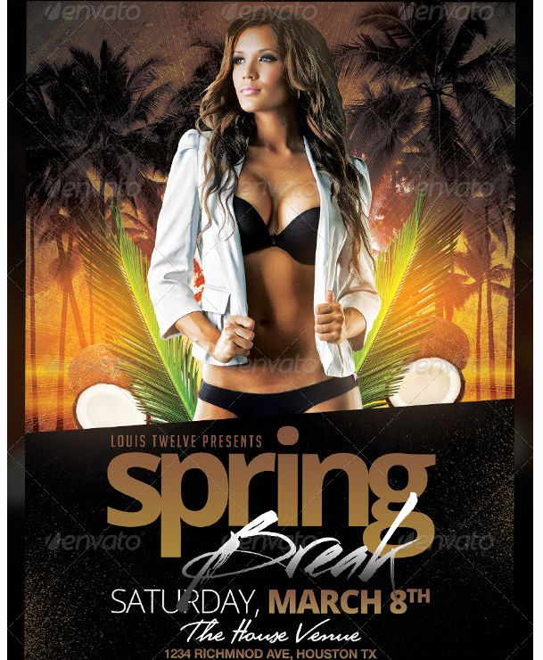 24 Best Spring Break Party Flyer Templates Images On Pinterest