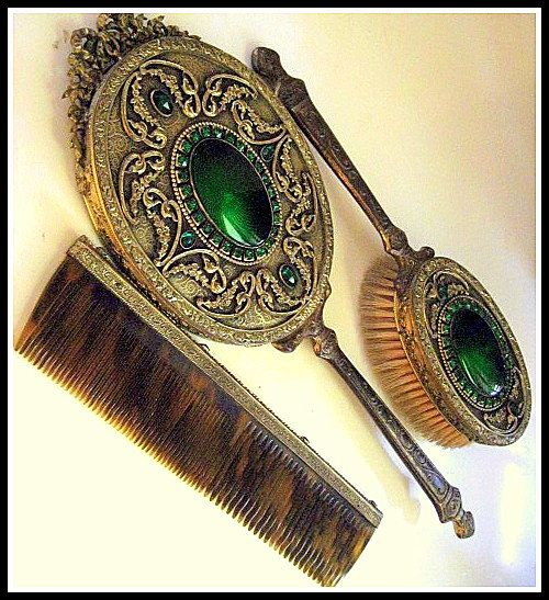 I almost got a set like these at garage sale...boy do I regret it now...Vintage Hand Mirror Brush & Comb Set Jeweled with Guilloche Enamel