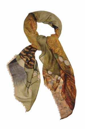 Large scarf - Maharaja  by Vita Gottlieb  from Miratis.com.  Large micro-modal and cashmere wool scarf printed with an Eighteenth Century painting of an Indian Maharaja. This scarf is deliciously soft and is suitable for all seasons. Printed in Como, Italy, and hand finished in the UK, this is a beautiful trans-seasonal scarf for both men and women. Finish: Two edges are fringed and two are hand-rolled. Size: 140 x 100cm Composition: 90% micromodal, 10% wool